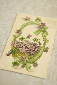他の写真1: アンティークポストカード / パニエに入ったスミレと四つ葉のクローバー